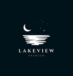 lake view in night logo design vector image