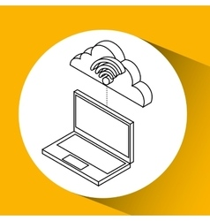 laptop cloud technology wifi vector image