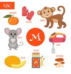 Letter M Cartoon alphabet for children Monkey vector