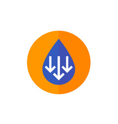 Low water level icon with arrows vector