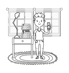 Man with puppet black and white vector