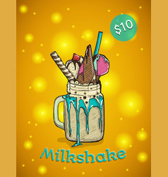 monstershake in cartoon style crazy milkshake vector image