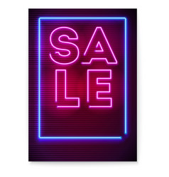 neon sale sign on dark background luminous vector image