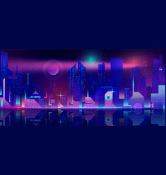 Night city in neon lights futuristic cityscape vector