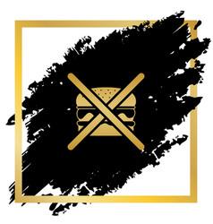 No burger sign golden icon at black spot vector