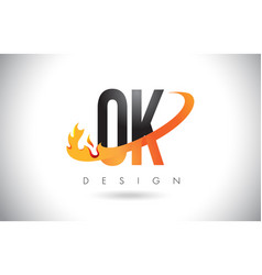 ok o k letter logo with fire flames design and vector image