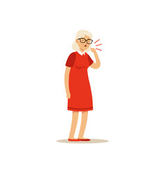 Old female character coughing colourful vector