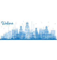 Outline wuhan skyline with blue buildings vector