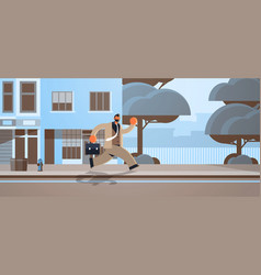 Overworked business man running with briefcase vector