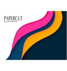Papercut background in bright pink and yellow vector