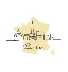 Paris drawn single line in minimalist style vector