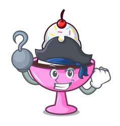 Pirate ice cream sundae character cartoon vector
