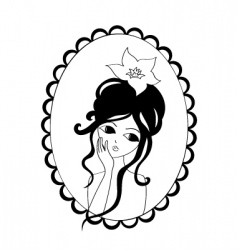 portrait girl vector image