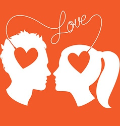 Profiles of man and woman connected by love wire vector image