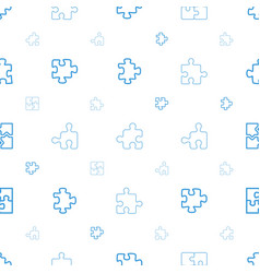 puzzle icons pattern seamless white background vector image