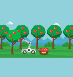 Robot picking apples at harvest time vector