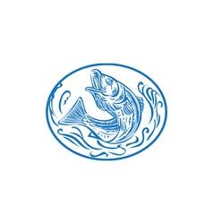 Rockfish Jumping Up Oval Drawing vector