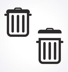 Rubbish bins trash cans garbage icons vector