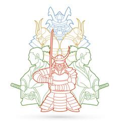 Samurai ready to fight composition outline vector