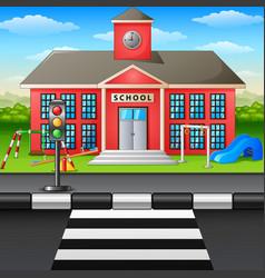 Scene school building and playground vector