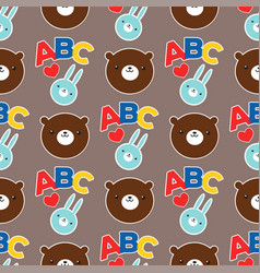 seamless abc teddy bear pattern pattern vector image