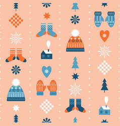 seamless christmas background winter knitted hats vector image