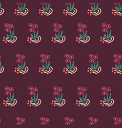 seamless folk flowers repeating background vector image