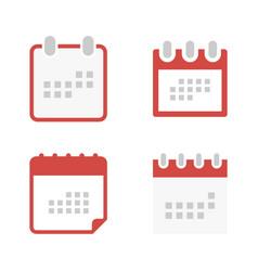 set calendar icon in flat style calendar symbol vector image
