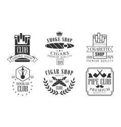 set logos for smoking and hookah club vector image