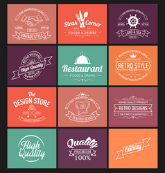 set of logo design in retro style vector image