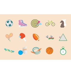 set sport icons in flat design vector image