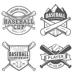 set vintage baseball labels and badges vector image