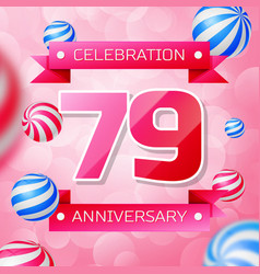 seventy nine years anniversary celebration design vector image