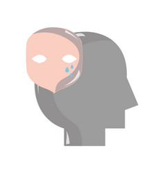 Silhouette man with face crying mental feeling vector