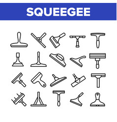Squeegee for cleaning window icons set vector