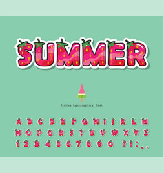 summer font cartoon 3d decorative alphabet vector image