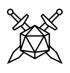Swords crossed with 20 sided d20 or 20d dice icon vector