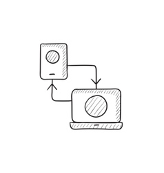Synchronization phone with laptop sketch icon vector image