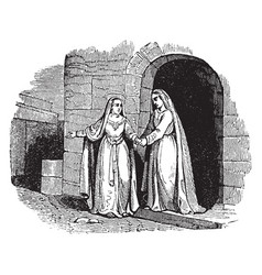 the visitation - mary departs from elizabeths vector image