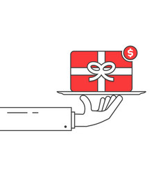 Thin line hand holding red gift card vector