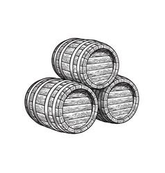 three stacked wooden barrels for beer wine vector image