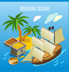 treasure island isometric game background vector image