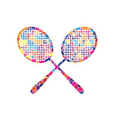 two tennis racket sign stained glass icon vector image