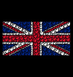 uk flag collage of floral sprout icons vector image