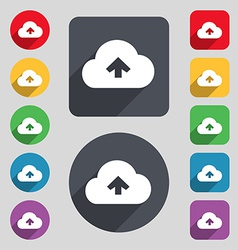 Upload from cloud icon sign A set of 12 colored vector image