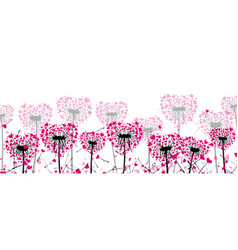 Valentine s banner with love dandelions vector