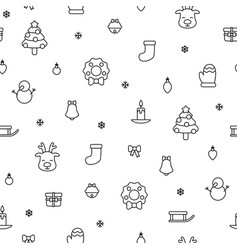 Various christmas items black simple outline vector