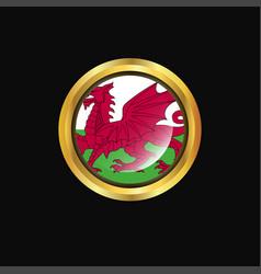 Wales flag golden button vector