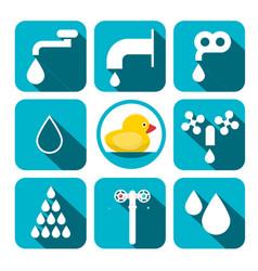 water symbols set aqua icons in blue squares vector image