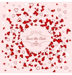 Wedding banner over scattered red and pink hearts vector
